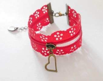 Bronze charm with red lace Cuff Bracelet.
