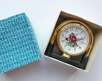 Vintage alarm clock NEW OLD STOCK Unused Wind up working clock Old Chinese Diamond table clock Cartoon Man figure  Nos Retro desk clock