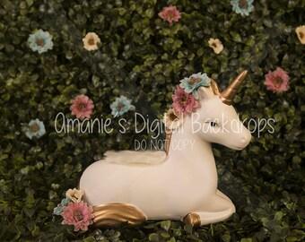 Floral Simple Unicorn Digital Backdrop