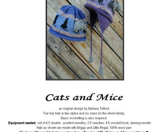 PATTERN ONLY Cats and Mice Earflap hat for 6 sizes