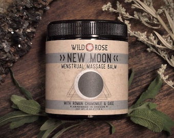 Menstrual Massage Balm NEW MOON with Chamomile and Sage - 113g // 4oz Self Care