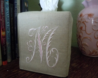 Tissue Box Cover -  Made To Order - Monogrammed Essex Natural Linen Tissue Cover Special French Lettering