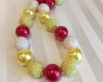 Beauty and the Beast Inspired Red Yellow Pearl Rhinestone Chunky Necklace