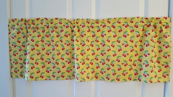 Retro cherries kitchen yellow and red curtain valance
