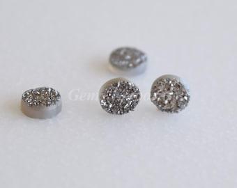 Druzy 6 MM Round Metallic Grey . Good Quality for Designer Jewelry. Sold per piece.