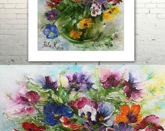 Pansies bouquet in a vase-Digital print-Printable art flower-Abstract flowers oil painting still life-Digital illustration Pansies bouquet