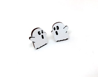 Little Spooks Ghost Earrings, Laser Cut Wood Earrings, Halloween, Mini Ghosts, Wooden Jewelry by Ngo Creations