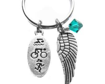 Triathlon Angel Wing Charm, Archangel Raphael, Keychain, Bag Charm, Marathon, Safe Travels Gift