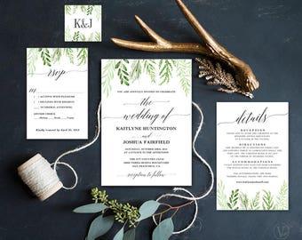 Printable Botanical Greenery Wedding  Invitation, Greenery Wedding Invitation, Editable Text, Instant Download, Botanical Greenery