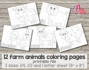 Printable kid's farm animals coloring pages 12 animals, bull, cow, chiken, hen, sheep, pig, horse, goat, duck, rabbit, dog and rooster