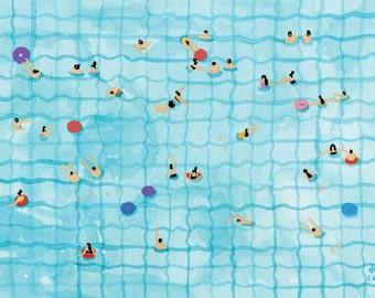 Art Print of original Watercolor painting - 'Swimming pool' by Helo Birdie - Whimsical art print - swimming art print - water art print