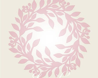 Christmas laser cut vector wreath template, SVG decoration, laser cutting wreath. Vector laser cut foliage (Silhouette, DXF, SVG).