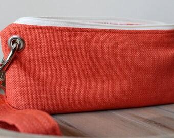 Zipper Pouch Clutch Wallet - Long Wallet - Cell Phone Wallet - Errand Runner - Evening Bag -  Orange