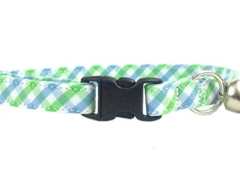 Blue and Green Gingham Check Cat or Kitten Breakaway Safety Collar