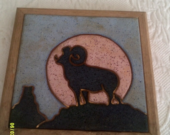 Vintage Ceramic Tile Trivet with Ram and Moon, Made by Lov Ceramics, Jackson Wyoming, Western Trivet, Wildlife Hot Pad