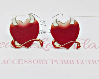 Red Heart Studs, Valentine Earrings, Red Devil Earrings, Love Heart Posts, Gothic Studs, Horny Devil Heart  Earrings