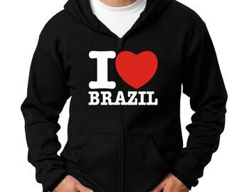 I Love Brazil Zip Hoodie