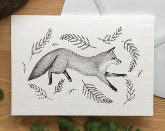 Fox & Fern Greetings Card - Original Ink Illustration - Fox Card - Nature Card - Wildlife Card - Blank Greetings Card