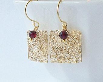 Garnet and Gold Mesh Earrings, Birthstone Jewelry