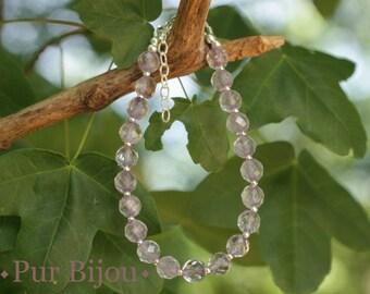 Bracelet 925 sterling silver and faceted light Amethyst