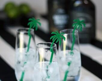 palm tree : swizzle sticks, drink stirrers, party decor [set of 6]