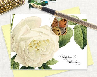 personalized stationery set - WHITE ROSE with BUTTERFLY - set of 8 folded note cards - stationary - botanical - floral - flower