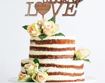 "Cake Topper | Custom | Party Event  | Wedding  | Personalised | Engagement  | Birthday | Wooden Cake Topper - ""All you need is Love"""