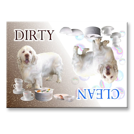 Clumber Spaniel Clean Dirty Dishwasher Magnet
