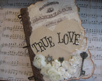 Shabby Chic Vintage Style Wedding Guest Book with tags.  Made to Order