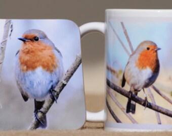 Robin mug with coaster
