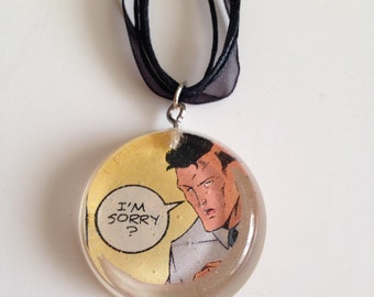 I'm Sorry? Necklace- Comic Book Scrap in Resin Pendant