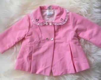 Vintage 70s pink spring easter jacket toddler baby girl