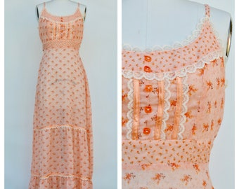 hippie boho summer dress / festival tiny floral long sun dress / small