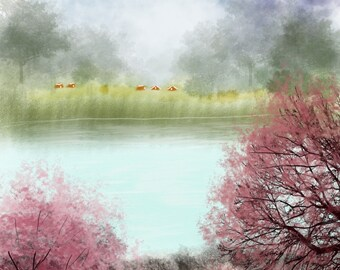Blossom Trees On The River Bank