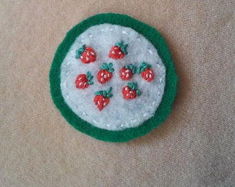 Strawberry Patch - Green Border, Circle (Patch, Pin, Brooch, or Magnet)