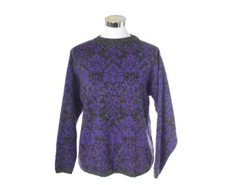 Vintage braoque 1980s melanged and violet fantasy knitted sweater, minty