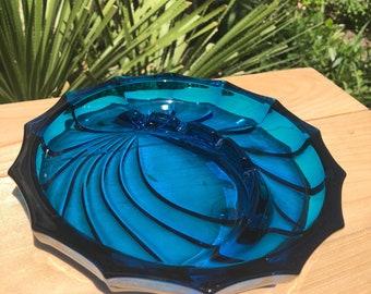 Vintage Thick Blue Glass- decorative ashtray