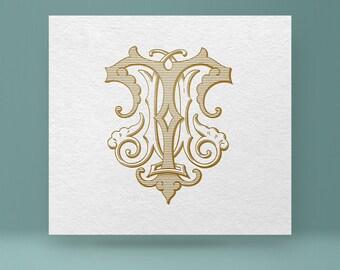 Vintage monogram - TM MT - Wedding Monogram [Digital][Vector]