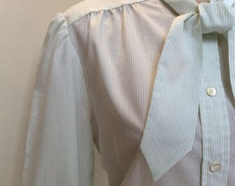 Vintage Evan Picone ivory pin stripe tie neck blouse, tiny green pinstripe woman's blouse sz 12, professional tie neck blouse sz M
