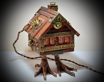 Steampunk Nixie clock : Baba Yaga's hut (small version)