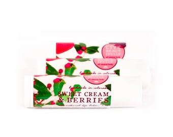 Sweet Cream & Berries Lip Balm - All Natural - Warm Vanilla, Strawberry, and Blackberry