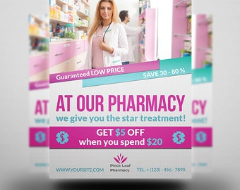 Printable Pharmacy Flyer | Flyer Template | Flyer Editable| Photoshop Template | Instant Download