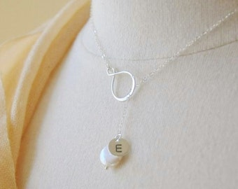Personalized Gift for Mom - Infinity Lariat Necklace, Pearl Necklace, Custom Monogrammed Necklace, Y Necklace, Initial Necklace