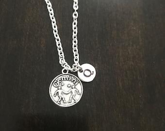 Gemini initial necklace ,Jewelry, Silver Jewelry, Gemini jewelry, horoscope Gemini, HM