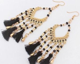 Bohemian Design Beads and Tassel Earrings - Black