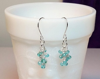 Tiny Blue Apatite Gemstone Cluster Drop Earrings, Christmas Gift, Mom Sister Bridesmaid Girlfriend Jewelry Gift, Pretty
