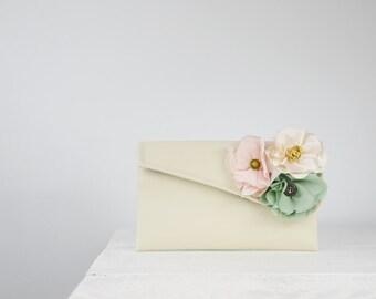 Pastel wedding purse, custom bridesmaid clutch