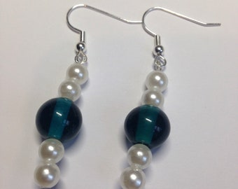 White and blue drop earrings