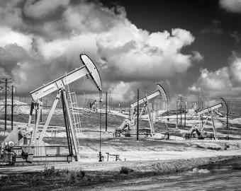 Oil derrick Weatherford industrial fields pumps pumping clouds landscape men man cave office decor black and white fine art photography