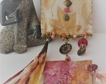 """Ethnic textile necklace """"influence of Japan and India"""""""